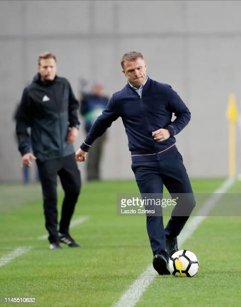 Head coach Serhiy Rebrov of Ferencvarosi TC kicks the ball during the Hungarian OTP Bank Liga match between Budapest Honved and Ferencvarosi TC at...