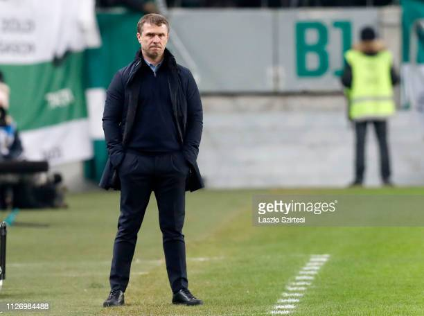 Head coach Serhiy Rebrov of Ferencvarosi TC looks with his hands in pocket during the Hungarian OTP Bank Liga match between Ferencvarosi TC and...