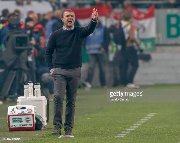 Head coach Serhiy Rebrov of Ferencvarosi TC reacts during the Hungarian OTP Bank Liga match between Ferencvarosi TC and Ujpest FC at Groupama Arena...