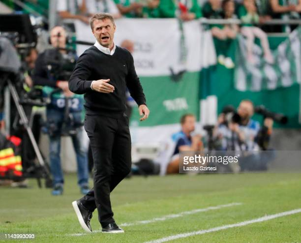Head coach Serhiy Rebrov of Ferencvarosi TC reacts during the Hungarian OTP Bank Liga match between Ferencvarosi TC and MOL Vidi FC at Groupama Arena...