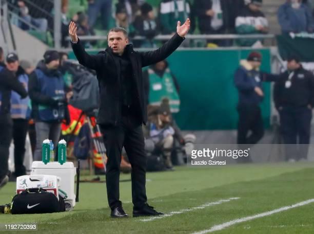 Head coach Serhiy Rebrov of Ferencvarosi TC reacts during the Hungarian OTP Bank Liga match between Ferencvarosi TC and Puskas Akademia FC at...