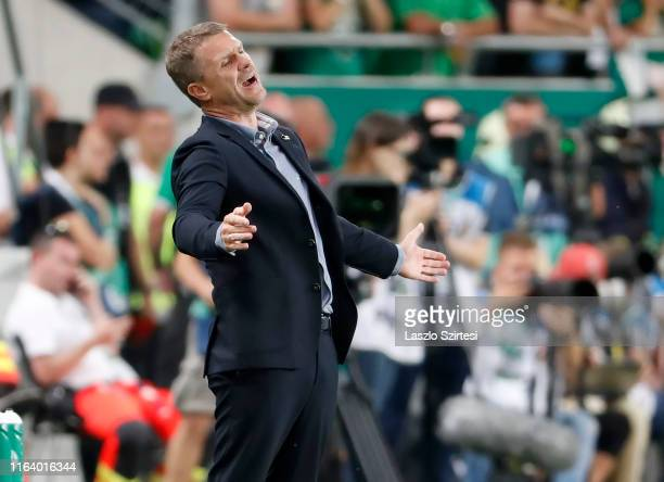 Head coach Serhiy Rebrov of Ferencvarosi TC reacts during the UEFA Champions League Qualifying Round match between Ferencvarosi TC and Valletta FC at...