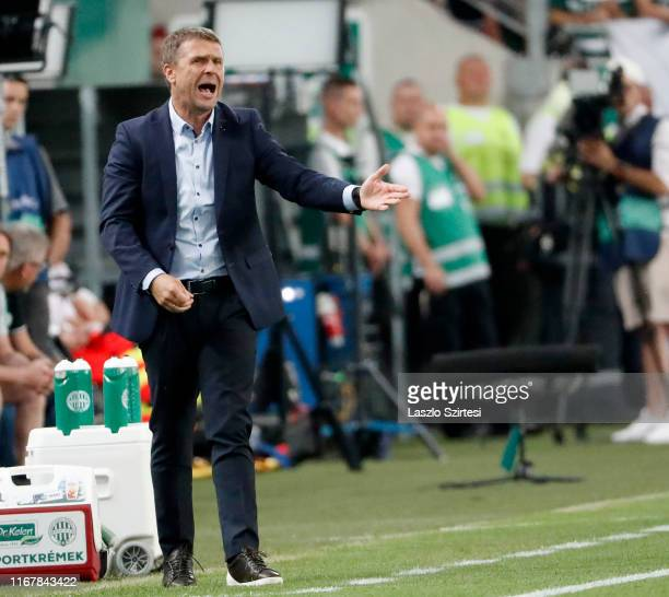Head coach Serhiy Rebrov of Ferencvarosi TC reacts during the UEFA Champions League Third Qualifying Round match between Ferencvarosi TC and GNK...