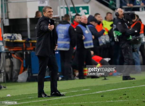 Head coach Serhiy Rebrov of Ferencvarosi TC reacts during the UEFA Europa League Group stage match between Ferencvarosi TC and Espanyol Barcelona at...