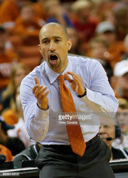 Head coach Shaka Smart of the Texas Longhorns reacts as his team plays the Louisiana Tech Bulldogs at the Frank Erwin Center on December 16 2017 in...