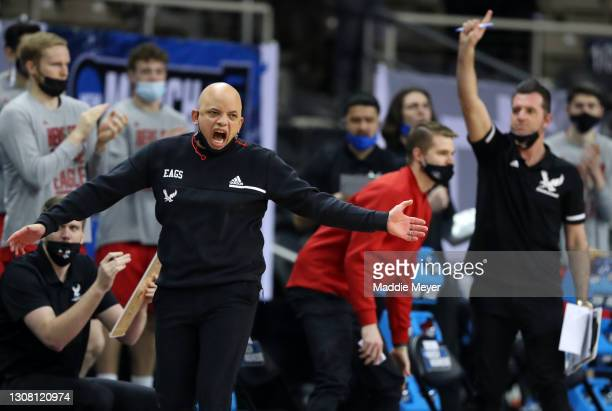 Head coach Shantay Legans of the Eastern Washington Eagles reacts on the sidelines during the first half against the Kansas Jayhawks in the first...