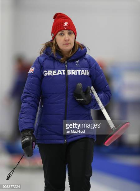 Head Coach Sheila Swan is seen at announcement of the ParalympicsGB Wheelchair Curling Team at The National Curling Centre on January 10 2018 in...