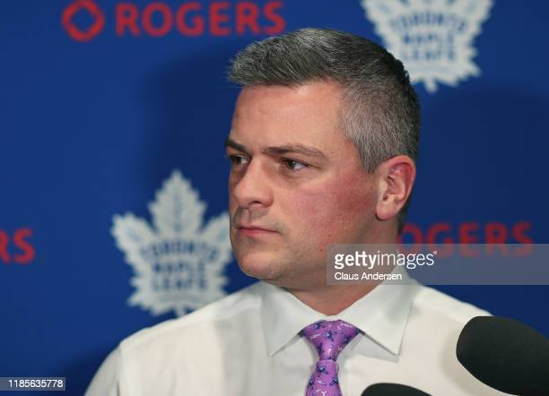 Head coach Sheldon Keefe of the Toronto Maple Leafs chats with the media prior to action against the Buffalo Sabres in an NHL game at Scotiabank...