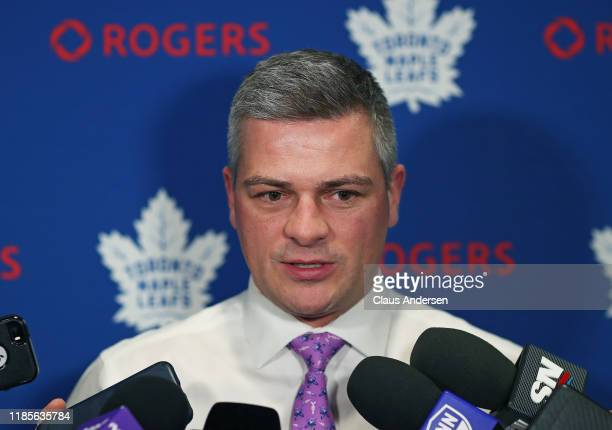 Head coach Sheldon Keefe of the Toronto Maple Leafs chats with the media prior to action the Buffalo Sabres in an NHL game at Scotiabank Arena on...