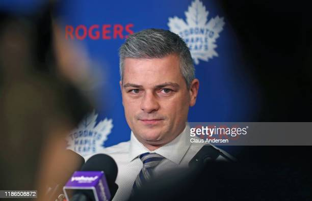 Head coach Sheldon Keefe of the Toronto Maple Leafs speaks to the media prior to a game against the Colorado Avalanche at Scotiabank Arena on...