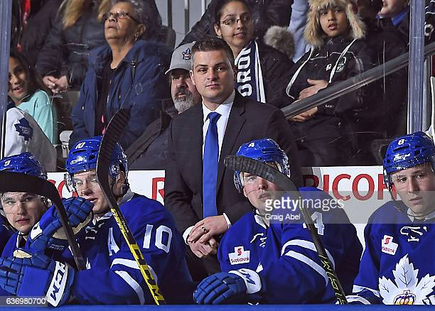 Head coach Sheldon Keefe of the Toronto Marlies watches the play against the St. John's IceCaps during AHL game action on December 26, 2016 at Ricoh...