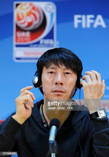Head coach Shin Tae Yong of Seongnam Ilhwa Chunma F.C. Listens to questions from the media during a press conference at Zayed Sports City on December...