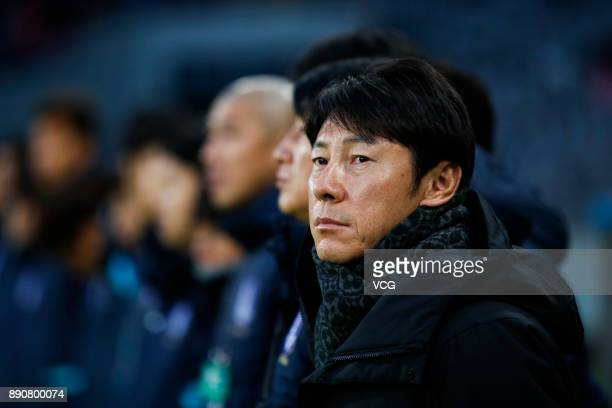 Head coach Shin TaeYong of South Korea looks on during the EAFF E1 Men's Football Championship between North Korea and South Korea at Ajinomoto...