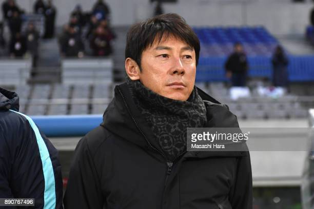 Head coach Shin TaeYong of South Korea looks on prior to the EAFF E1 Men's Football Championship between North Korea and South Korea at Ajinomoto...