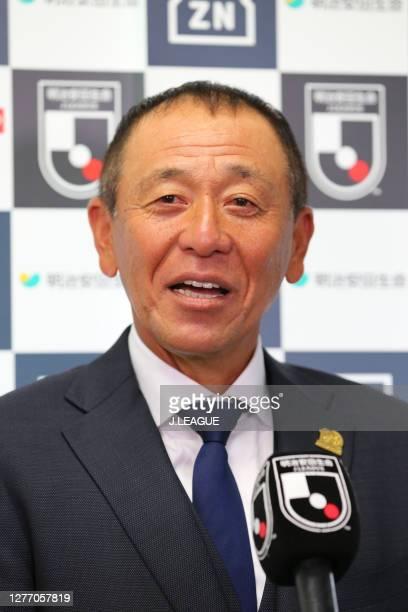 Head coach Shinji Kobayashi of Giravanz Kitakyushuis interviewed prior to the J.League Meiji Yasuda J2 match between Tokyo Verdy and Giravanz...