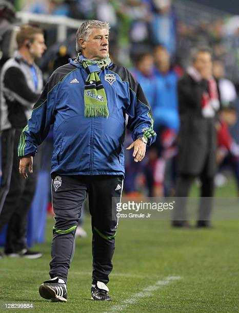 Head coach Sigi Schmid of the Seattle Sounders FC looks on against the Chicago Fire during the 2011 Lamar Hunt US Open Cup Final at CenturyLink Field...