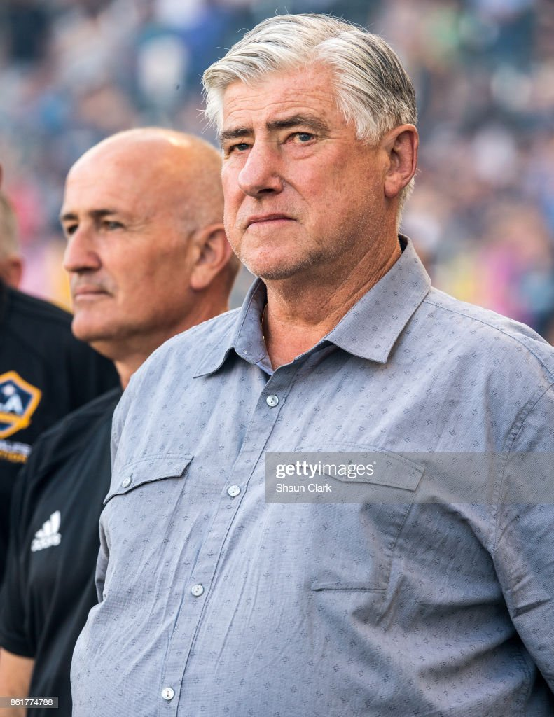 Head Coach Sigi Schmidt and Assistant Coach Dominic Kinnear during the Los Angeles Galaxy's MLS match against Minnesota United at the StubHub Center on October 15, 2017 in Carson, California. Los Angeles Galaxy won the match 3-0