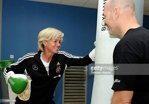 Head coach Silva Neid boxes during a Germany training session at Fitness First club on June 13 2011 in Frankfurt am Main Germany