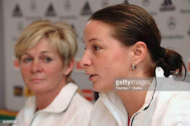 Head coach Silvia Neid and Inka Grings look on during the Women's German National Team Press Conference at the Hotel Klosterpforte on February 23,...