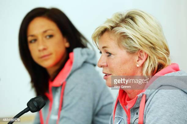 Head coach Silvia Neid and Nadine Kessler attend a Germany press conference at CarlBenzStadion on April 9 2014 in Mannheim Germany