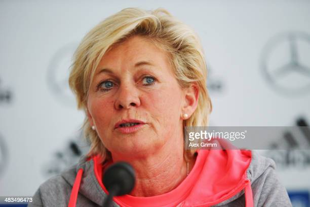 Head coach Silvia Neid attends a Germany press conference at CarlBenzStadion on April 9 2014 in Mannheim Germany