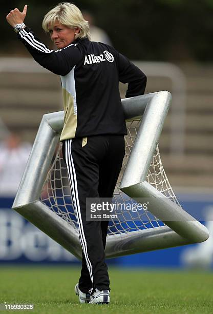 Head coach Silvia Neid caries a goal during a German Women National Team training session on June 12 2011 in Neu Isenburg Germany