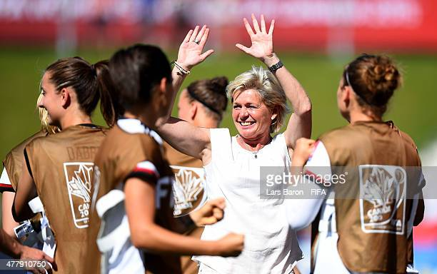 Head coach Silvia Neid celebrates after Celia Sasic of Germany scored her teams second goal during the FIFA Women's World Cup 2015 Round of 16 match...