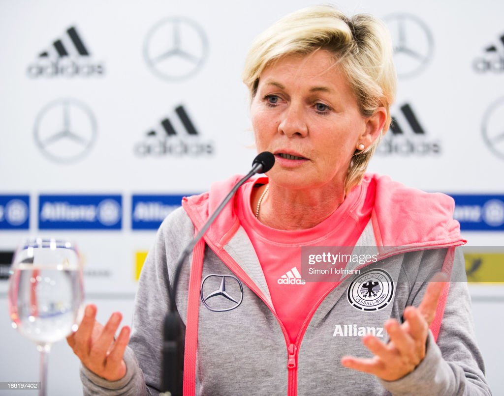 Head coach Silvia Neid gestures during a Germany women's press conference at Volksbank Stadion on October 29, 2013 in Frankfurt am Main, Germany.
