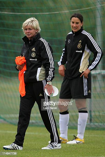 Head coach Silvia Neid is seen next to Birgit Prinz during a German Women National Team training session at Hotel Klosterpforte on May 31 2011 in...