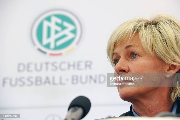 Head coach Silvia Neid looks on during a press conference for the German Women's National Team at the Sportsschool Kaiserau on April 28 2011 in Kamen...