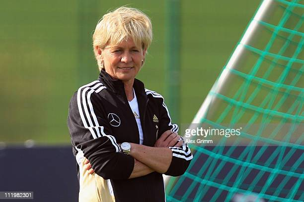Head coach Silvia Neid looks on during a training session of the German Women's national football team at their training camp ahead of the FIFA...