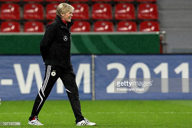 Head coach Silvia Neid looks on during the training session at BayArena on November 24 2010 in Leverkusen Germany
