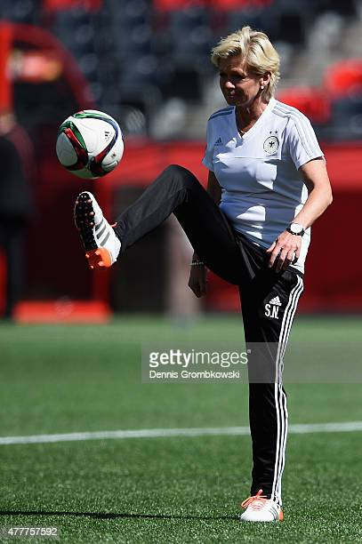 Head coach Silvia Neid of Germany during a training session at Lansdowne Stadium on June 19 2015 in Ottawa Canada