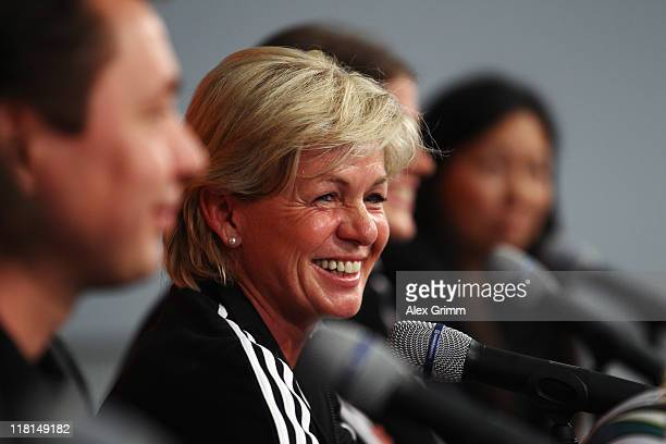 Head coach Silvia Neid of Germany laughs during a Germany Press conference at Borussiapark Stadium on July 4 2011 in Moenchengladbach Germany