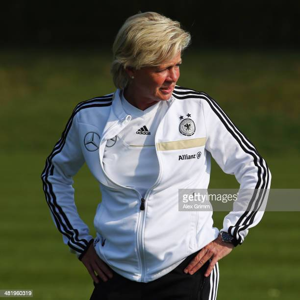 Head coach Silvia Neid of Germany looks on during a Germany Women's training session at the Commerzbank Arena training ground on April 2 2014 in...