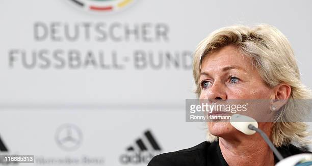 Head coach Silvia Neid of Germany looks on during the Germany press conference at Wolfsburg Arena on July 10 2011 in Wolfsburg Germany