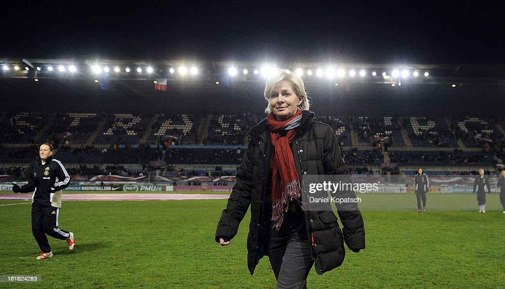 Head coach Silvia Neid of Germany looks on prior the international friendly match between France and Germany at Stade de la Meinau on February 13, 2013 in Strasbourg, France.