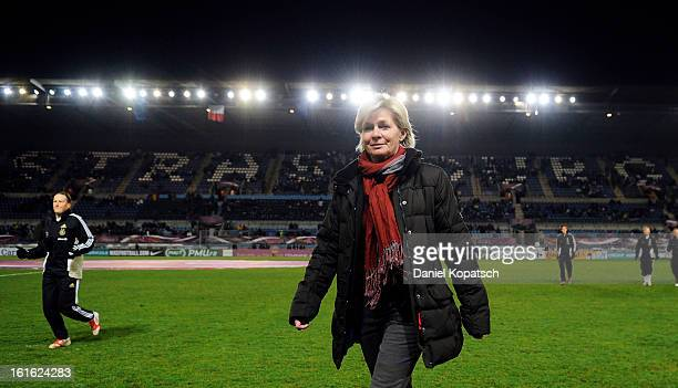 Head coach Silvia Neid of Germany looks on prior the international friendly match between France and Germany at Stade de la Meinau on February 13...