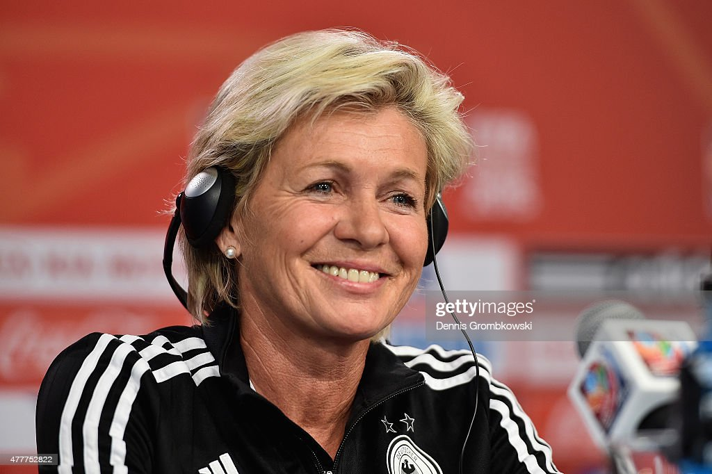 Head coach Silvia Neid of Germany reacts during a press conference at Lansdowne Stadium on June 19, 2015 in Ottawa, Canada.
