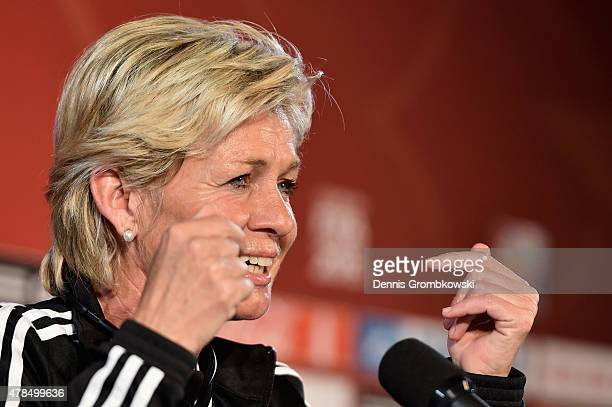 Head coach Silvia Neid of Germany reacts during a press conference at Stade Olympique de Montreal on June 25 2015 in Montreal Canada