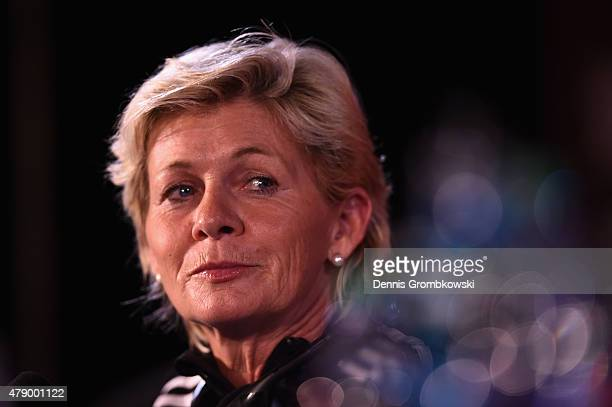 Head coach Silvia Neid of Germany reacts during a press conference at Olympic Stadium ahead of their semi final match against the United States on...