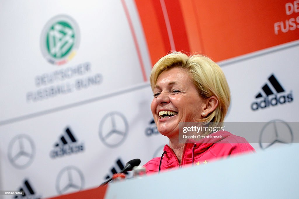 Head coach Silvia Neid of Germany reacts during a press conference ahead of their Women's International friendly match against the United States of America on April 4, 2013 in Frankfurt am Main, Germany.