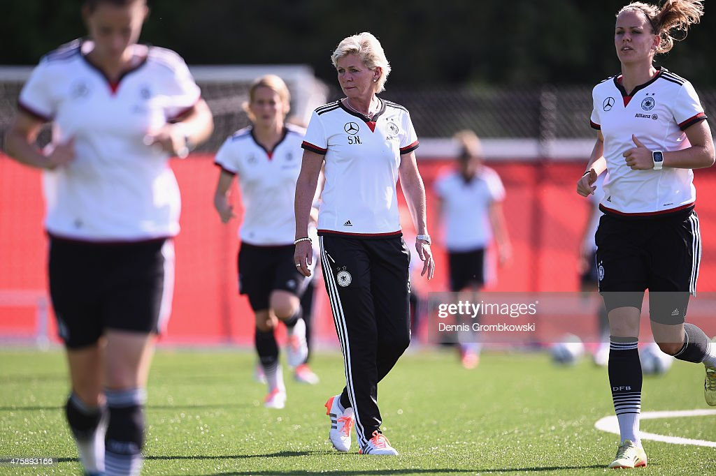Head coach Silvia Neid of Germany reacts during a training session at Richcraft Recreation Complex on June 4, 2015 in Ottawa, Canada.
