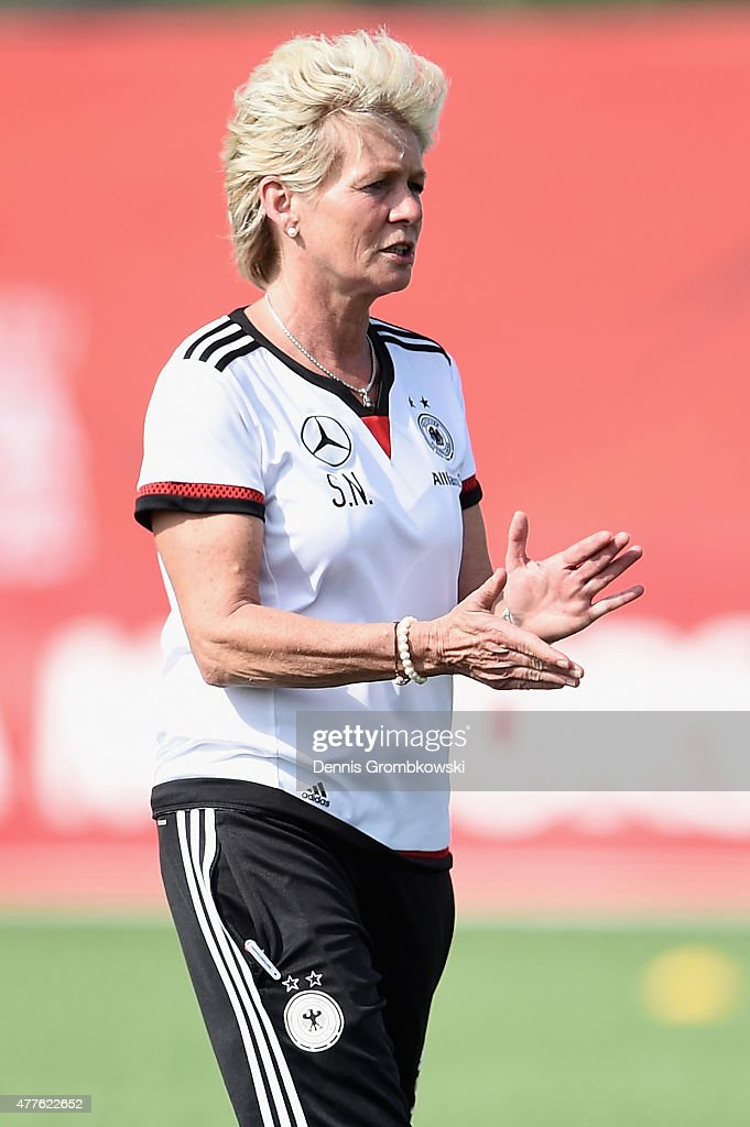 Head coach Silvia Neid of Germany reacts during a training session at Wesley Clover Park on June 18, 2015 in Ottawa, Canada.