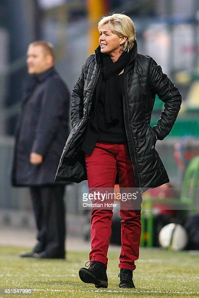 Head coach Silvia Neid of Germany reacts on the touchline during the FIFA Women's World Cup 2015 Qualifier between Slovakia and Germany at Stadion...