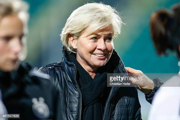 Head coach Silvia Neid of Germany smiles after winning the FIFA Women's World Cup 2015 Qualifier between Slovakia and Germany at Stadion pod Dubnom...
