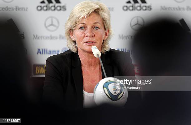Head coach Silvia Neid of Germany speaks during the Germany press conference at Wolfsburg Arena on July 10 2011 in Wolfsburg Germany