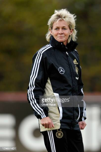 Head coach Silvia Neid reacts during at the Germany women's training session on October 19 2011 in Hamburg Germany