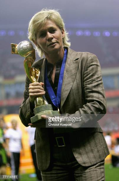 Head coach Silvias Neid of german presents the winning trophee after the Women's World Cup 2007 Final match between Brazil and Germany at the...
