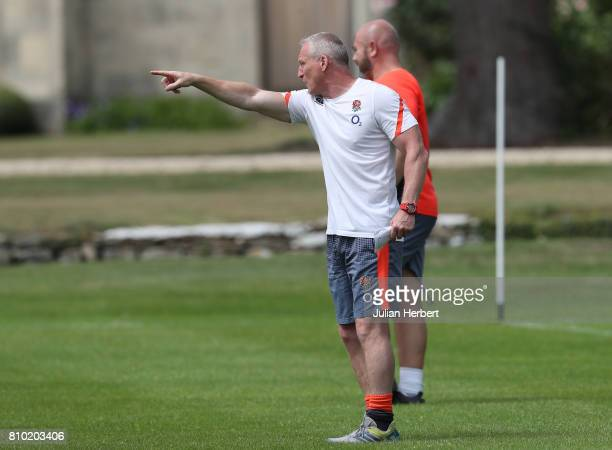 Head Coach Simon Middleton watches The England Womens Rugby World Cup squad take part in a training session at Farleigh House on July 7 2017 in Bath...